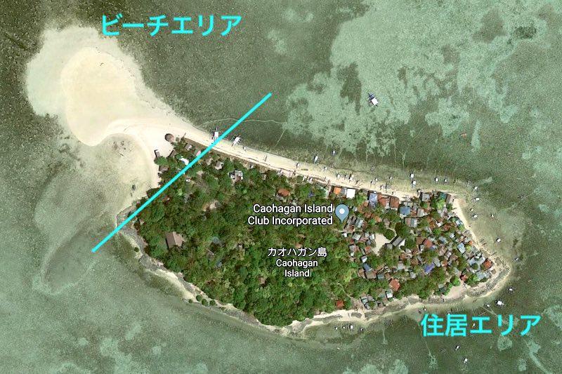 カオハガン島の衛星写真
