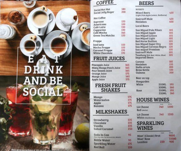 THE SOCIALのメニュー