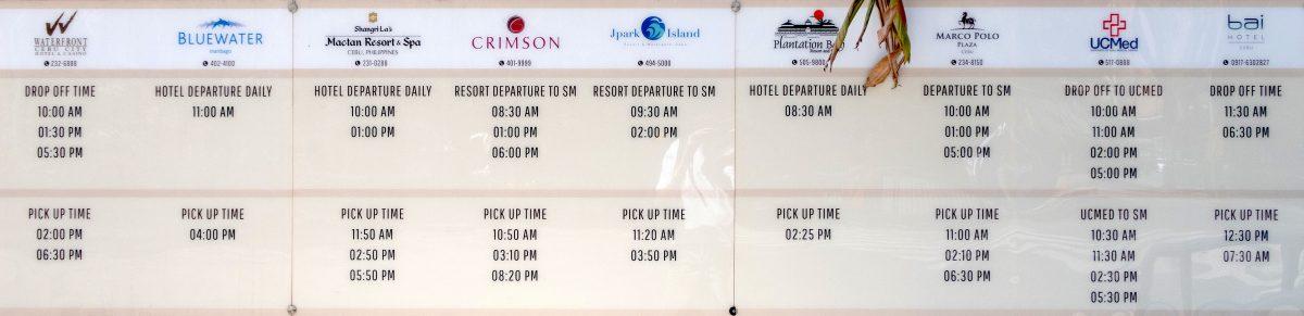 SMシティセブのシャトルバスの時刻表
